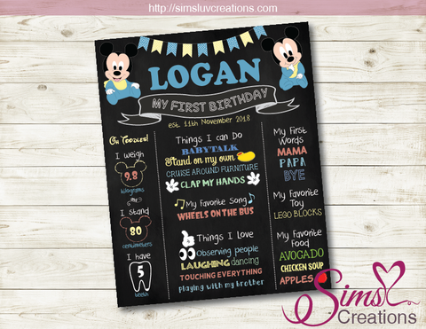 DISNEY BABY MICKEY THEME MILESTONE BOARD | BABY MINNIE MOUSE BIRTHDAY CHALKBOARD POSTER