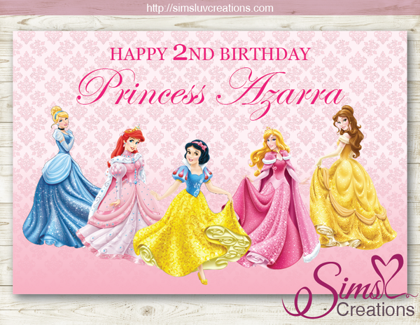DISNEY PRINCESS PRINTABLE PARTY BACKDROP BANNER | ROYAL BIRTHDAY POSTER