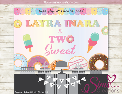 DONUTS AND ICE CREAM THEME PRINTABLE BACKDROP BANNER | TWO SWEET BIRTHDAY POSTER