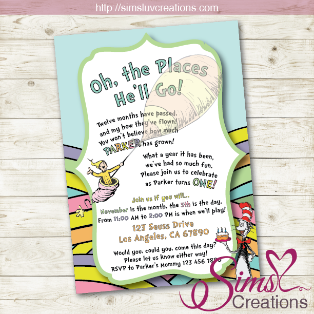 DR SEUSS BIRTHDAY PRINTABLE INVITATION | OH THE PLACES YOU'LL GO PARTY INVITATION