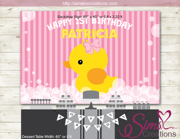 RUBBER YELLOW DUCK PRINTABLE BACKDROP BANNER | LITTLE DUCKLING PARTY POSTER