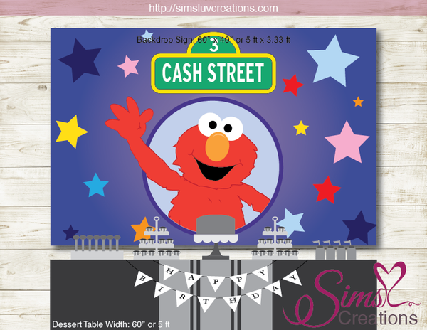 ELMO SESAME STREET PARTY BACKDROP BANNER | ELMO BIRTHDAY POSTER