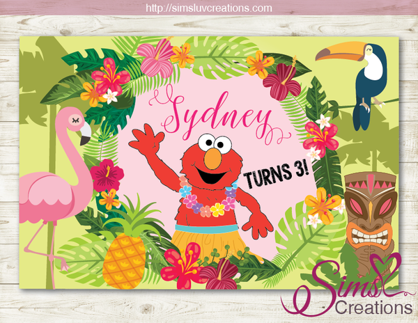 ELMO PARTY BACKDROP BANNER | TROPICAL LUAU BIRTHDAY POSTER