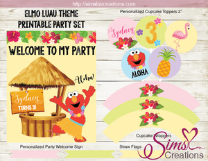 ELMO SESAME STREET PARTY PRINTABLE KIT | LUAU TROPICAL PARTY DECORATION PACKAGE