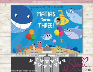 FINNY THE BABY SHARK AND FRIENDS PRINTABLE BACKDROP BANNER | SUPER SIMPLE SONGS BIRTHDAY POSTER