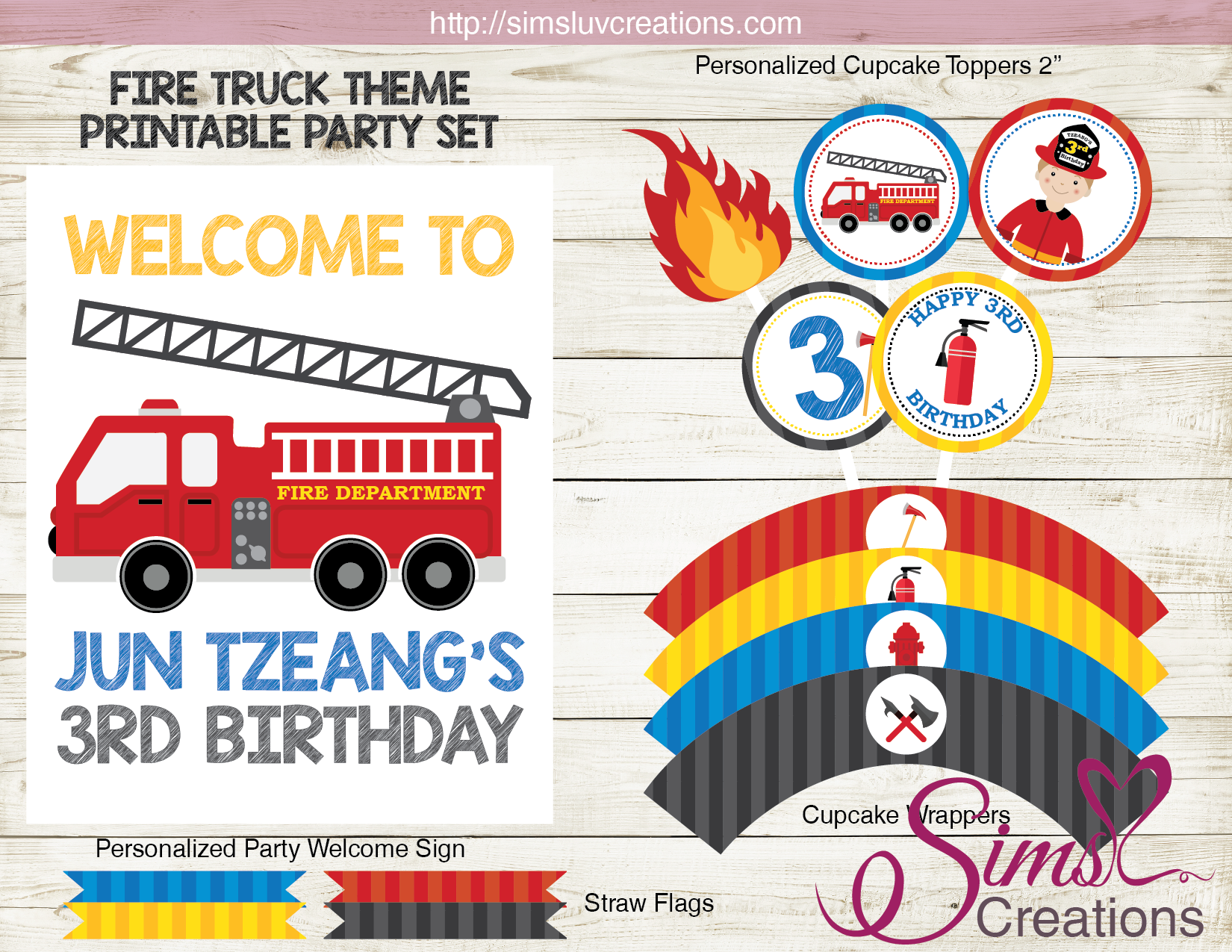 FIRE TRUCK PARTY PRINTABLES KIT | FIREFIGHTER BIRTHDAY PARTY SUPPLIES