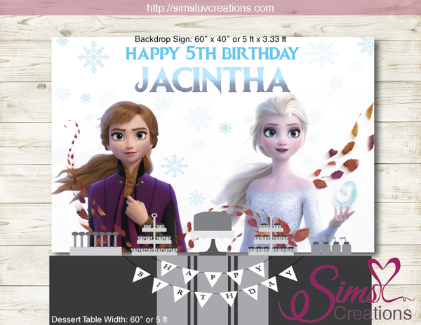 FROZEN II PRINTABLE BACKDROP BANNER | FROZEN 2 BIRTHDAY PARTY POSTER