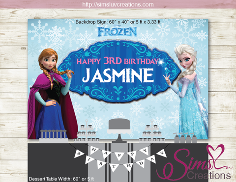FROZEN PRINTABLE BACKDROP BANNER | FROZEN BIRTHDAY PARTY POSTER