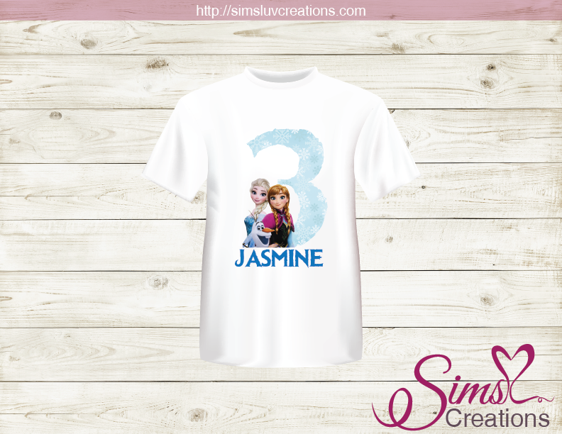 FROZEN PARTY PRINTABLE T-SHIRT IRON ON TRANSFER | DIGITAL IMAGE FOR FROZEN BIRTHDAY T-SHIRTS