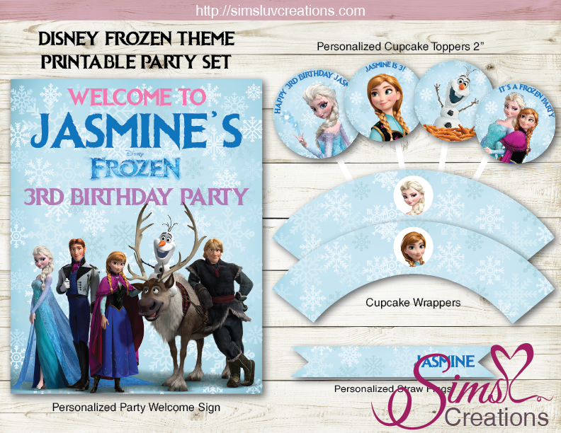 FROZEN PARTY KIT | ELSA ANNA BIRTHDAY DECORATION PRINTABLES