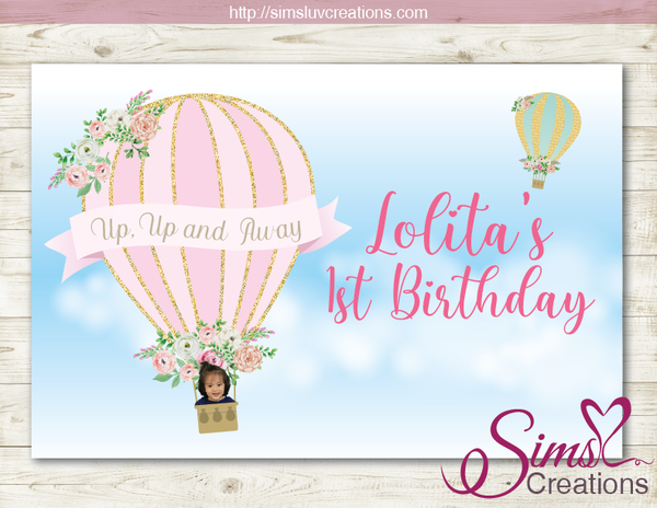 HOT AIR BALLOON PARTY BACKDROP BANNER | GIRL 1ST BIRTHDAY BACKDROP | CUSTOM PHOTO
