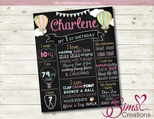 HOT AIR BALLOON THEME MILESTONE BOARD | GIRL'S BIRTHDAY CHALKBOARD POSTER