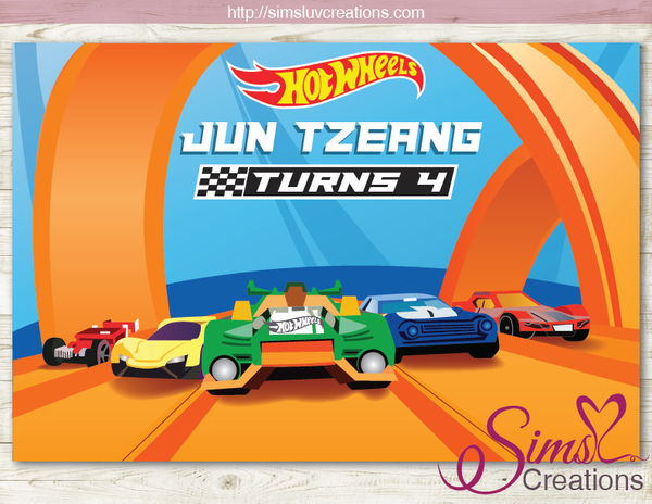 HOTWHEELS PARTY BACKDROP BANNER | HOT WHEELS HOT RODS RACE CARS BIRTHDAY BACKDROP | CUSTOM PHOTO