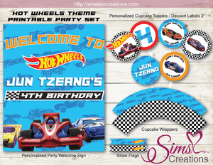 HOT WHEELS PARTY KIT | HOT RODS RACE CARS PARTY PRINTABLES