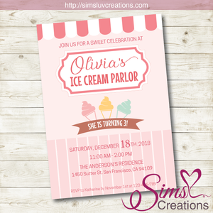 ICE CREAM BIRTHDAY PRINTABLE INVITATION | PARTY INVITATION