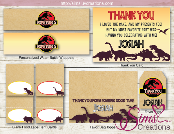 JURASSIC WORLD BIRTHDAY PARTY DECORATION KIT | DINOSAUR SILHOUETTE PARTY PRINTABLES