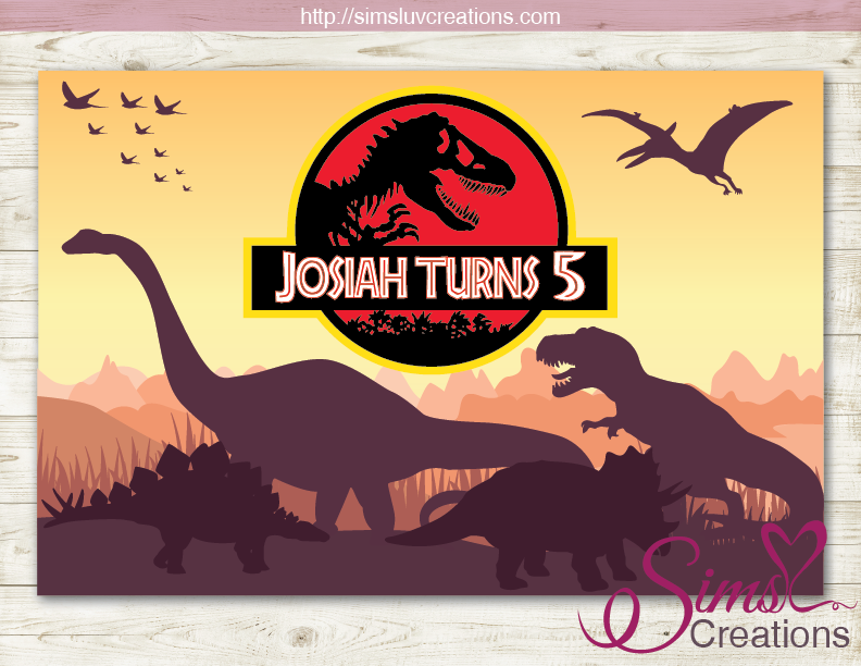 JURASSIC WORLD DINOSAUR PRINTABLE BIRTHDAY BACKDROP BANNER
