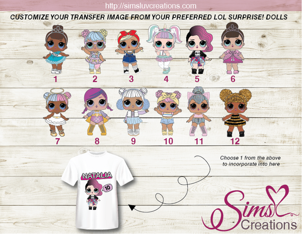 LOL SURPRISE! DOLLS THEME PARTY PRINTABLE T-SHIRT IRON ON TRANSFER | DIGITAL IMAGE FOR BIRTHDAY T-SHIRTS