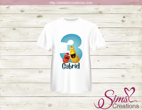 LARVA CARTOON PARTY PRINTABLE T-SHIRT IRON ON TRANSFER | DIGITAL IMAGE FOR LARVA BIRTHDAY T-SHIRTS