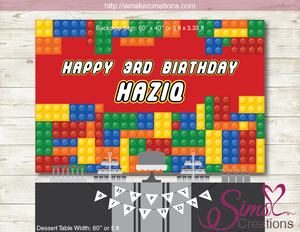 LEGO PRINTABLE BACKDROP BANNER | COLOR BUILDING BLOCK BIRTHDAY POSTER