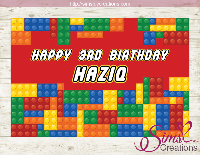 Lego Printable Backdrop Banner Color Building Block Birthday Poster Sims Luv Creations