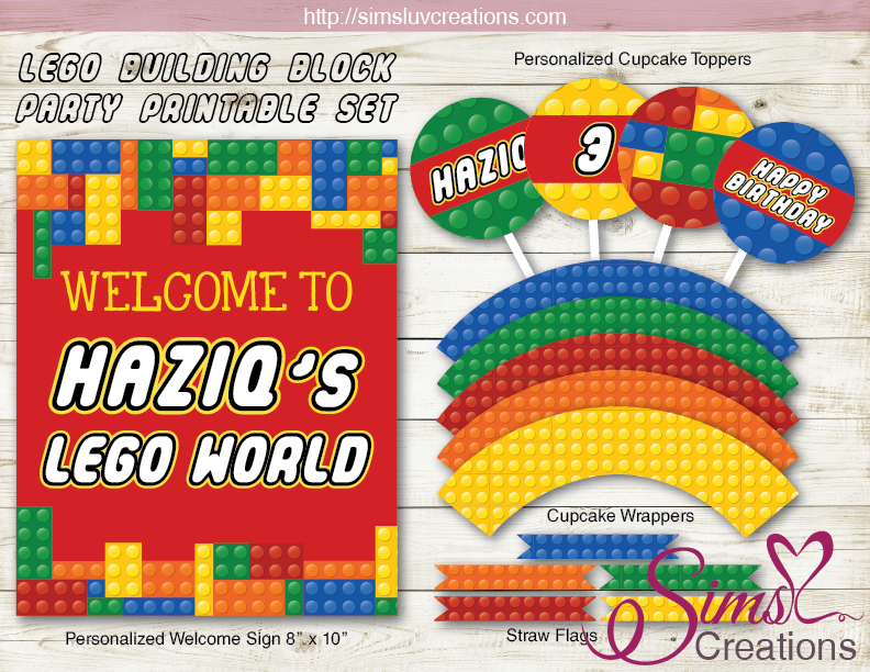 LEGO BIRTHDAY PARTY KIT | COLOR BUILDING BLOCK BIRTHDAY DECORATION PARTY  PRINTABLES