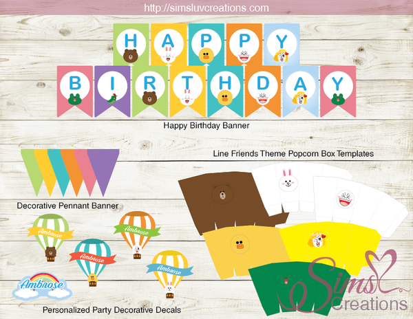 LINE FRIENDS PARTY KIT | LINE BROWN CONY PARTY PRINTABLES