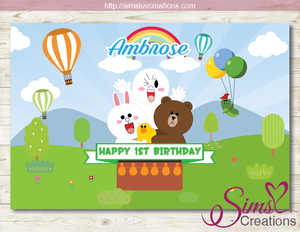 LINE FRIENDS PRINTABLE BACKDROP BANNER | LINE JAPAN PARTY BACKDROP