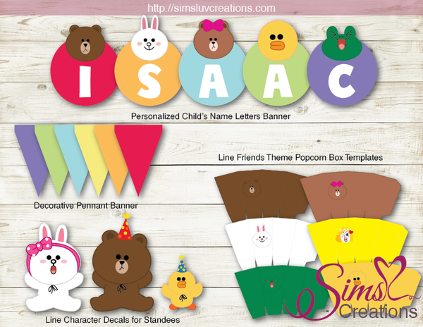LINE JAPAN CHARACTERS PARTY KIT | LINE BROWN CONY PARTY PRINTABLES