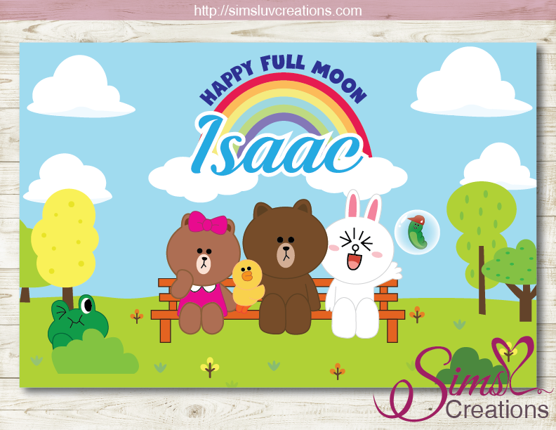 LINE BROWN CONY PRINTABLE BACKDROP BANNER | LINE JAPAN PARTY BACKDROP