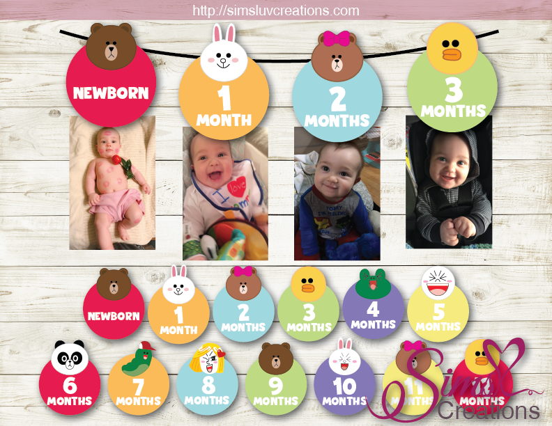 LINE JAPAN THEME PRINTABLE MONTHLY PHOTO BANNER | LINE FRIENDS CHARACTERS FIRST BIRTHDAY MONTHLY PHOTO BADGES