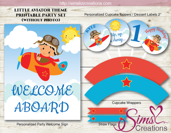 LITTLE AVIATOR PARTY PRINTABLES KIT | AIRPLANE PARTY DECORATION KIT | CUSTOM PHOTO