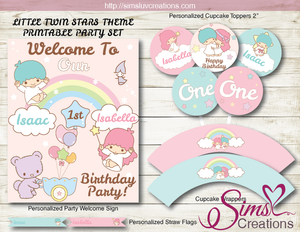 LITTLE TWIN STARS PARTY KIT | TWINS BIRTHDAY PARTY PRINTABLES