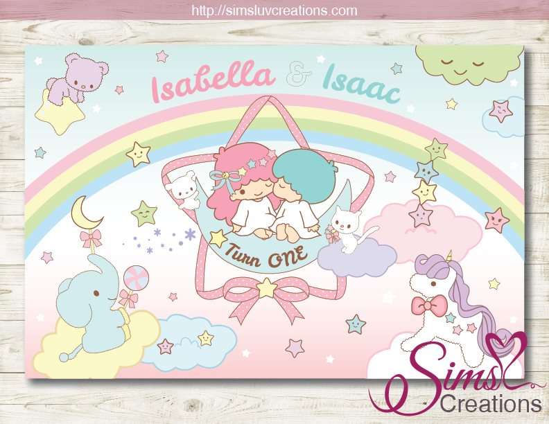 LITTLE TWIN STARS PRINTABLE BACKDROP BANNER | TWINS BIRTHDAY BACKDROP