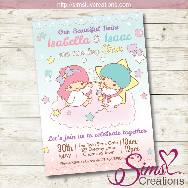 LITTLE TWIN STARS BIRTHDAY PRINTABLE INVITATION | TWINS PARTY INVITATION