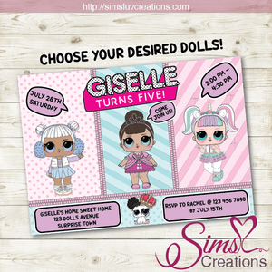 LOL SURPRISE! DOLLS BIRTHDAY PRINTABLE INVITATION | PARTY INVITE