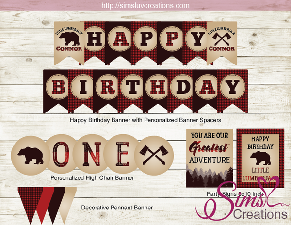 LUMBERJACK BIRTHDAY PARTY KIT | LITTLE LUMBERJACK PARTY PRINTABLES