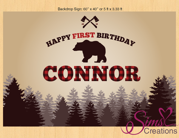 LUMBERJACK PRINTABLE BACKDROP BANNER | BUFFALO PLAID PARTY POSTER