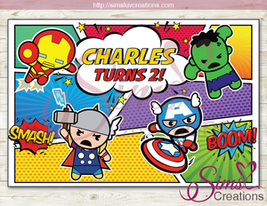 CHIBI MARVEL AVENGERS PARTY PRINTABLE BACKDROP BANNER | CUTE KAWAII AVENGERS BIRTHDAY BACKDROP