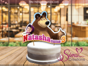 MASHA AND THE BEAR CAKE TOPPER | CAKE CENTERPIECE | CAKE DECORATIONS | CUSTOM PHOTO