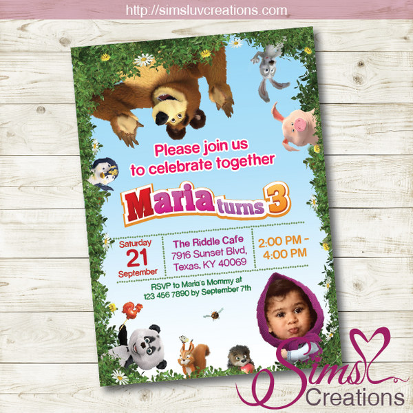 MASHA AND THE BEAR BIRTHDAY INVITATION | PARTY INVITATION | CUSTOM PHOTO