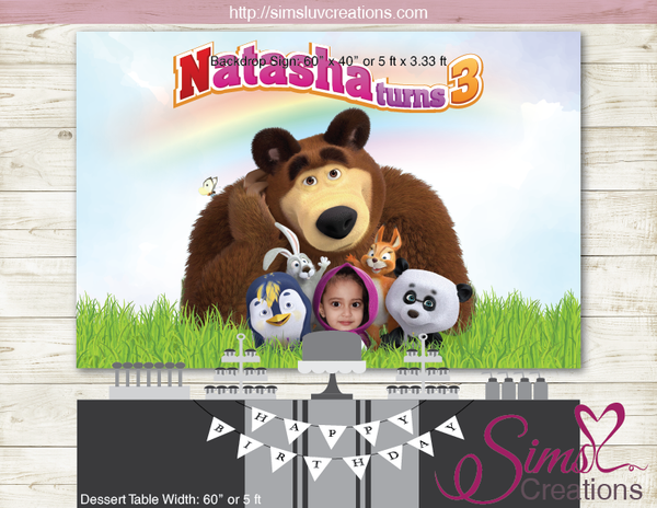 MASHA AND THE BEAR PARTY BACKDROP BANNER | BIRTHDAY BACKDROP | CUSTOM PHOTO