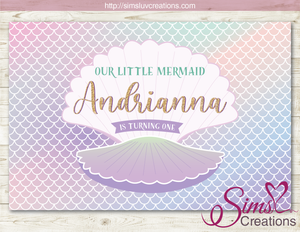 MERMAID SCALES PATTERN PARTY BACKDROP BANNER | UNDER THE SEA MERMAID BIRTHDAY BACKDROP