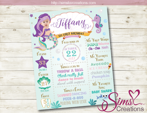 LITTLE MERMAID MILESTONE BOARD | UNDER THE SEA GIRL BIRTHDAY CHALKBOARD POSTER | CUSTOM PHOTO