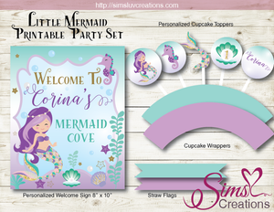 LITTLE MERMAID PARTY PRINTABLES KIT | UNDER THE SEA BIRTHDAY DECORATION KIT