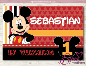 MICKEY MOUSE PRINTABLE BACKDROP BANNER | BIRTHDAY BACKDROP