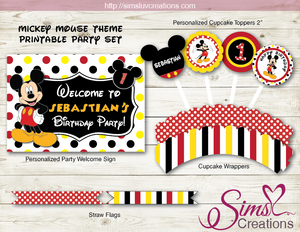 MICKEY MOUSE THEME PARTY SUPPLIES | DISNEY PARTY PRINTABLES DECORATION KIT