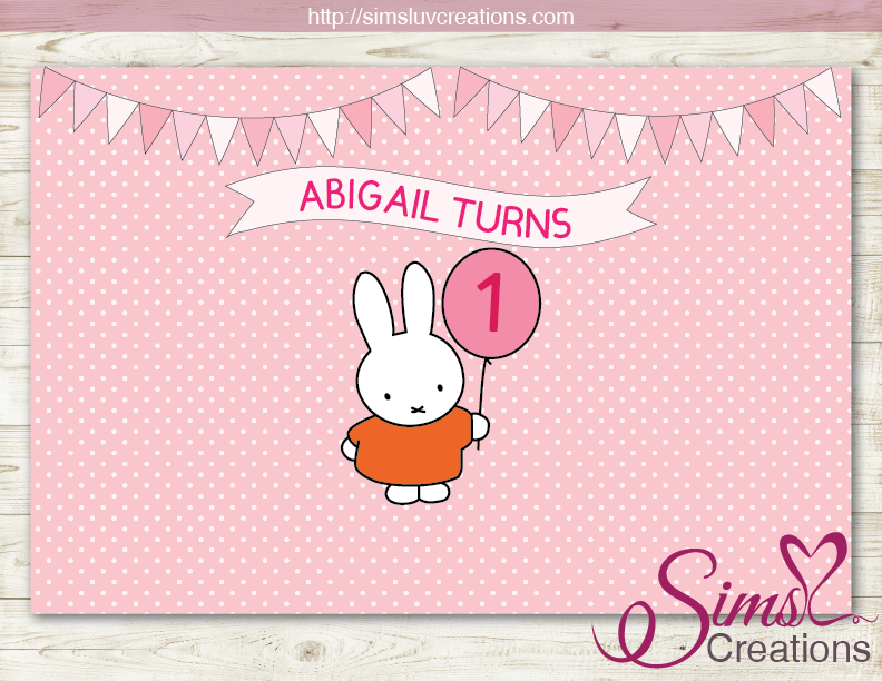 MIFFY PRINTABLE BACKDROP BANNER | SOME LITTLE BUNNY BIRTHDAY BACKDROP