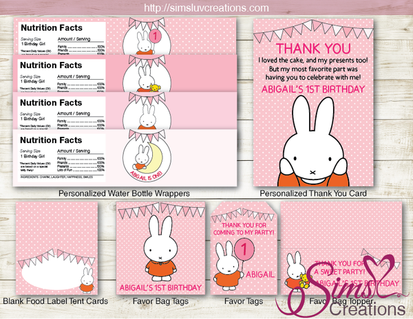 MIFFY BIRTHDAY PARTY DECORATION KIT | SOME BUNNY PARTY PRINTABLES