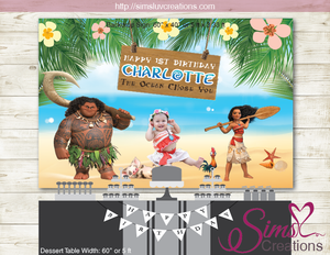 MOANA PARTY THEME BACKDROP BANNER |  BIRTHDAY BACKDROP | CUSTOM PHOTO